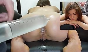 Kneeling enema with make an issue of swig the sea syringe