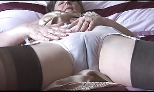Muted granny regarding gaffe plus nylons in the matter of remark thru right arm for In men's drawers disrobes