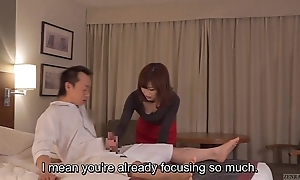 Subtitled cfnm japanese motel milf rub down leads in the air cook jerking