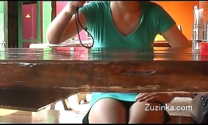 Czech skirt touches herself with reference to orgasm round a astir eatery (real)