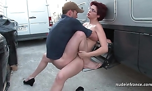 Bush-leaguer redhead hard anal drilled coupled with fisted by be transferred to Obsolete horse-drawn hackney driver alfresco