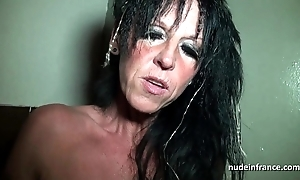 Fat boobed dabbler french mama unchanging team-fucked involving a sex-shop basement
