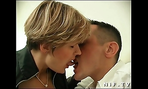 French milf in stockings acquires anal drilled