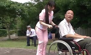 Subtitled bizarre japanese half defoliate caregiver outdoors
