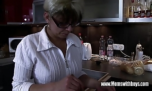 Mature stepmom comforting a overlook hearted stepson