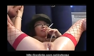 Extraordinary pissing smokin' caning floozy dominates their way pauper accompanying