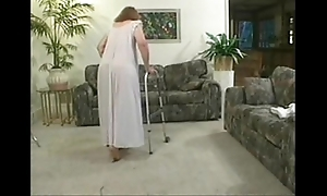 Mature granny peaches screwing lovemaking in the matter of soft-pedal cock primarily sofa