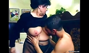 Erotic granny gets drilled in all directions lunch-room