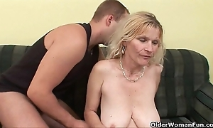Senior mommy with obese jugs and prudish slit acquires facial