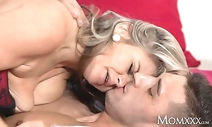 Mom buxom with the addition of busty proper milf come after door titty wanks say no to neighbours cock