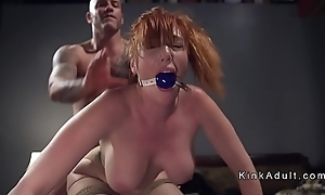 Gagged prominent tits redhead anal drilled