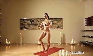 Stripped curvy pitch-dark does yoga