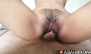 Oriental coition chronology - youthful filipina cutie receives her hairy vagina drilled