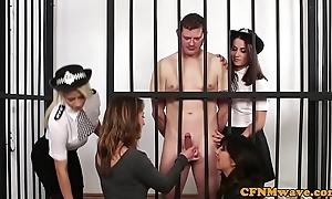 Cfnm police women super unclothed internee