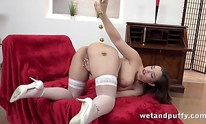 Curvy unlit with obese bowels masturbates with toys